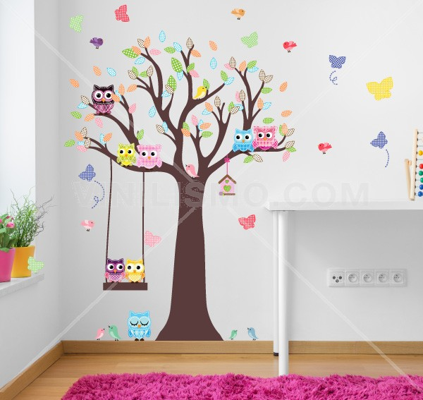 Vinilo decorativo fotoluminiscente rbol rojizo for Frases en vinilo para pared