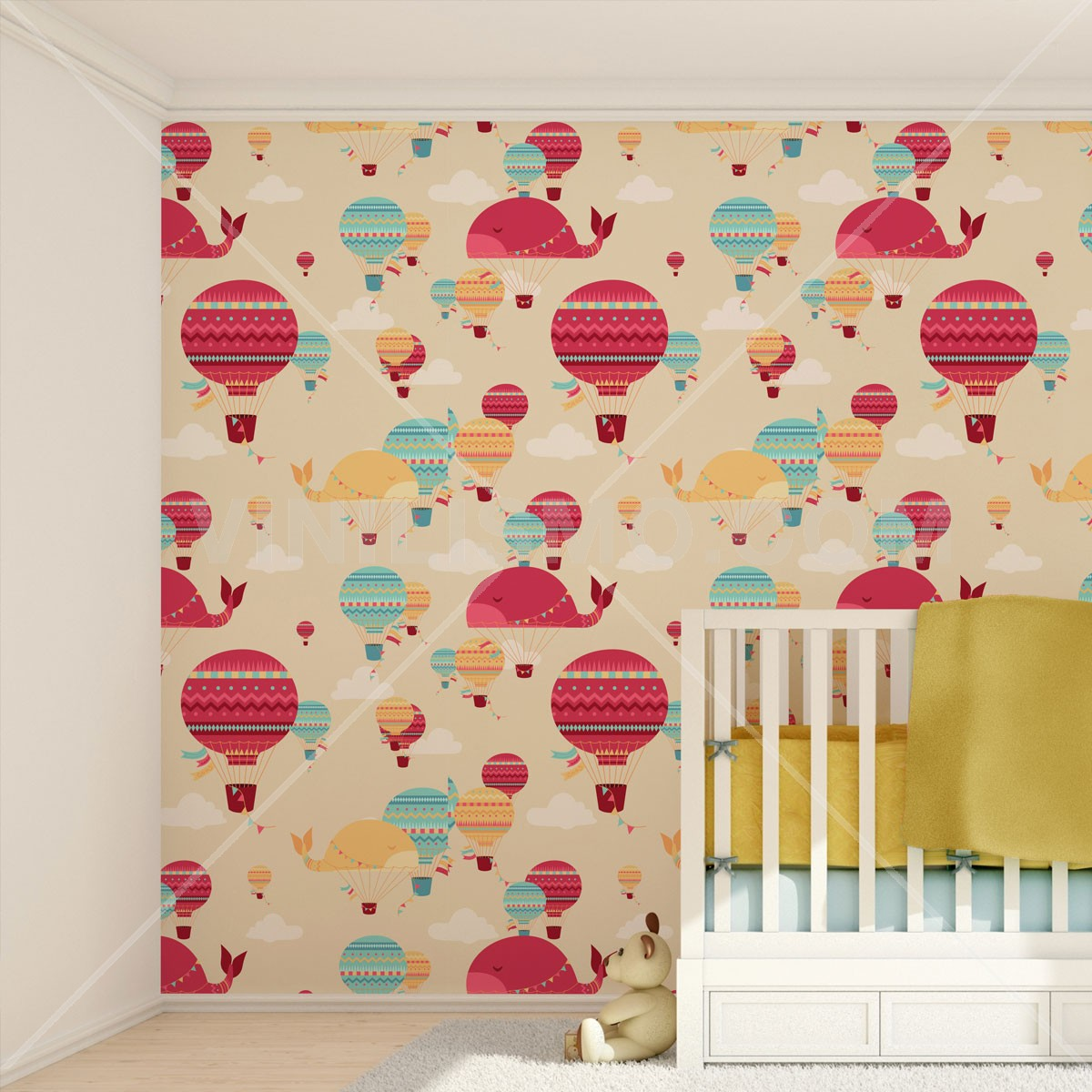 Papel tapiz globos aerost ticos for Papel vinilo pared