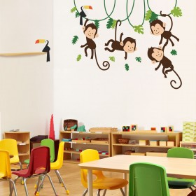 Wall Decal: Changuitos y tucanes
