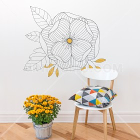 Wall Decal: Flor con líneas