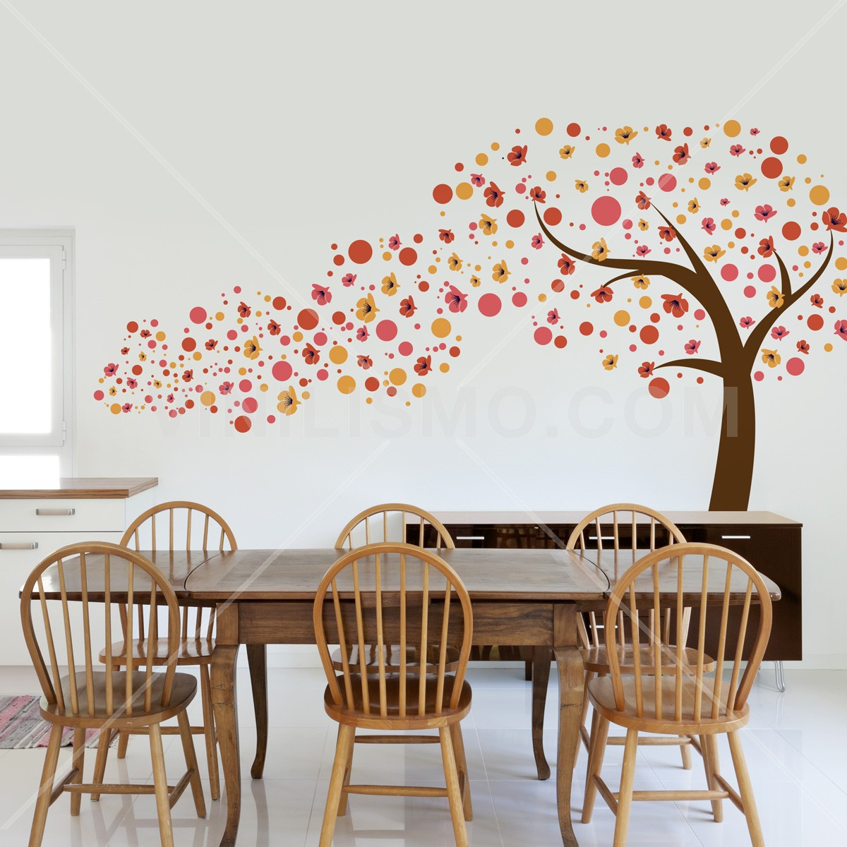Wall decal arbol en movimiento naranjas for Stickers decorativos